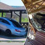 Во Флорештах водитель-лихач врезался в беседку (ФОТО)