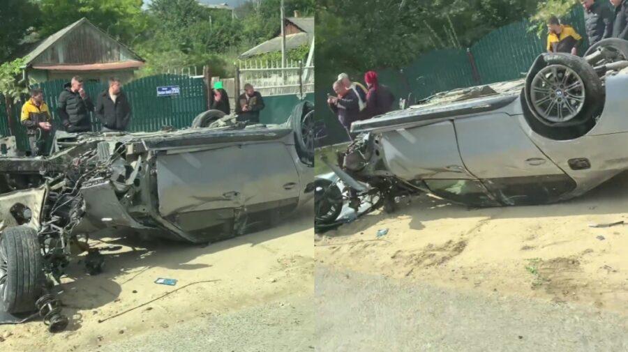 Жуткое ДТП в Хынчештах: автомобиль перевернулся на крышу (ВИДЕО)